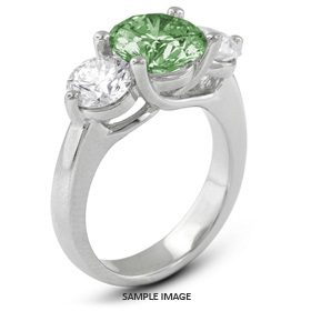 14k White Gold Classic Style Trellis Three-Stone Engagement Rings with 2.20 Total Carat Green-SI1 Round Diamond