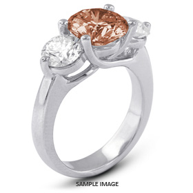 14k White Gold Classic Style Trellis Three-Stone Engagement Rings with 4.00 Total Carat Red-SI3 Round Diamond