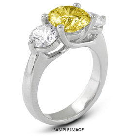 14k White Gold Classic Style Trellis Three-Stone Engagement Rings with 3.59 Total Carat Yellow-SI1 Round Diamond