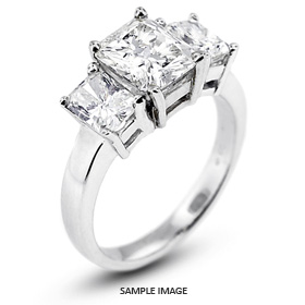Platinum  Classic Style Baskets Three-Stone Engagement Rings with 2.61 Total Carat D-SI1 Rectangular Radiant Diamond