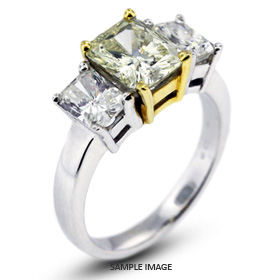 14k White Gold#Yellow Gold Classic Style Baskets Three-Stone Engagement Rings with 5.61 Total Carat Light Yellow-VS2 Rectangular Radiant Diamond