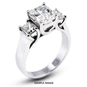 14k White Gold Classic Style Trellis Three-Stone Engagement Rings with 3.17 Total Carat H-SI2 Square Radiant Diamond