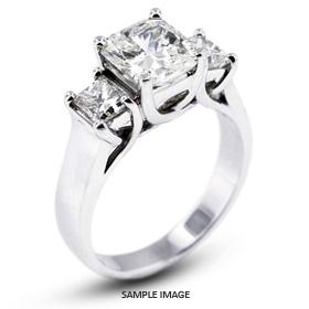 14k White Gold Classic Style Trellis Semi-Mount Three-Stone Engagement Rings with Diamonds (0.90ct. tw.)
