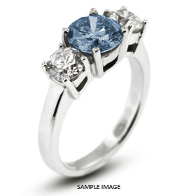 14k White Gold Classic Style Baskets Three-Stone Engagement Rings with 3.10 Total Carat Blue-VS2 Round Diamond