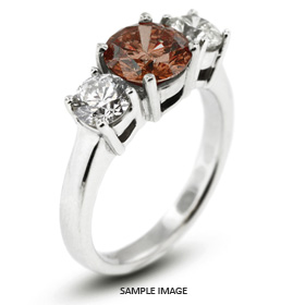 14k White Gold Classic Style Baskets Three-Stone Engagement Rings with 1.29 Total Carat Red-SI1 Round Diamond