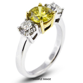 14k White Gold#Yellow Gold Classic Style Baskets Three-Stone Engagement Rings with 4.00 Total Carat Yellow-SI3 Round Diamond