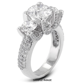 14k White Gold Three-Stone Engagement Rings with 1.78 Total Carat I-SI2 Round Diamond