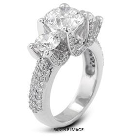 Platinum  Three-Stone Engagement Rings with 1.39 Total Carat G-VS2 Round Diamond