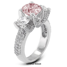 14k White Gold Three-Stone Engagement Rings with 3.56 Total Carat Pink-SI1 Round Diamond