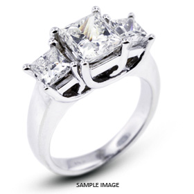 14k White Gold Classic Style Trellis Three-Stone Engagement Rings with 3.27 Total Carat H-I1 Princess Diamond