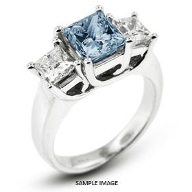 Platinum  Classic Style Trellis Three-Stone Engagement Rings with 2.63 Total Carat Blue-VS2 Princess Diamond