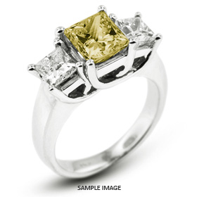 14k White Gold Classic Style Trellis Three-Stone Engagement Rings with 3.56 Total Carat Yellow-SI1 Princess Diamond