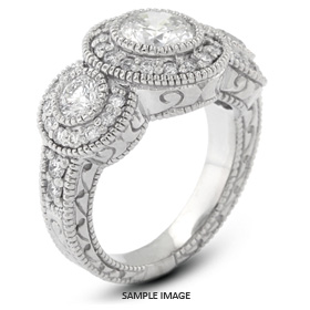 14k White Gold Halo Three-Stone Engagement Ring with 1.56 Total Carat F-I1 Round Diamond