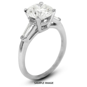 Platinum  Classic Style Baskets Three-Stone Engagement Rings with 1.33 Total Carat F-SI1 Round Diamond