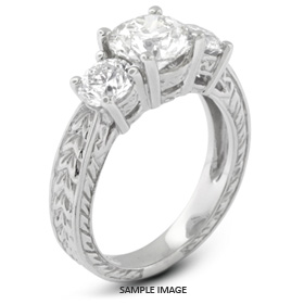 14k White Gold Vintage Style Baskets Three-Stone Engagement Rings with 5.05 Total Carat D-I1 Round Diamond