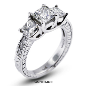 14k White Gold Vintage Style Trellis Three-Stone Engagement Rings with 3.09 Total Carat H-VS2 Princess Diamond