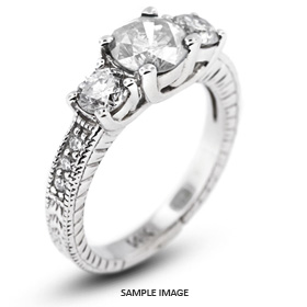 14k White Gold Classic Three-Stone Engagement Rings with 2.89 Total Carat G-VS1 Round Diamond
