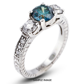 14k White Gold Classic Three-Stone Engagement Rings with 1.89 Total Carat Blue-SI1 Round Diamond