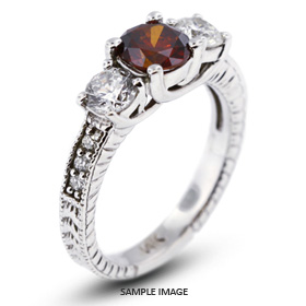 14k White Gold Classic Three-Stone Engagement Rings with 1.56 Total Carat Red-SI2 Round Diamond