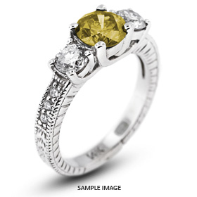 14k White Gold Classic Three-Stone Engagement Rings with 4.01 Total Carat Yellow-SI1 Round Diamond