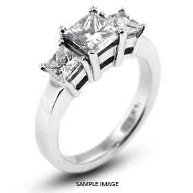 14k White Gold Classic Style Baskets Semi-Mount Three-Stone Engagement Rings with Diamonds (0.90ct. tw.)