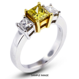 14k White Gold#Yellow Gold Classic Style Baskets Three-Stone Engagement Rings with 2.56 Total Carat Yellow-SI2 Square Radiant Diamond
