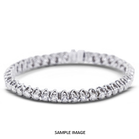 4.16 Carat Total Round Diamonds Trellis Style Tennis Bracelet in 18k White Gold (F-VS2)