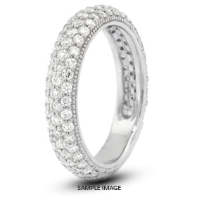 14k White Gold Nouveau Style Wedding Band with 1.00 Total Carat F-SI1 Round Diamond