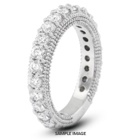 14k White Gold Victorian Style Wedding Band with 1.50 Total Carat F-VS2 Round Diamond