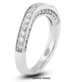 14k White Gold Victorian Style Wedding Band with 0.65 Total Carat G-VS2 Round Diamond