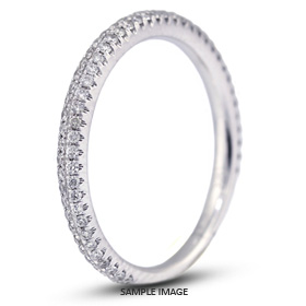 18k White Gold Nouveau Style Wedding Band with 0.40 Total Carat G-VS2 Round Diamond