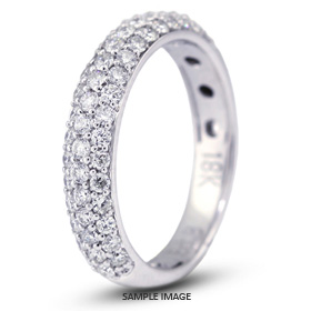 18k White Gold Nouveau Style Wedding Band with 0.85 Total Carat G-VS2 Round Diamond