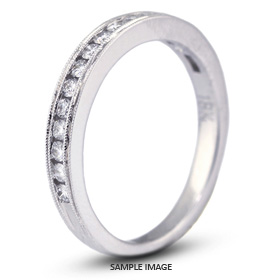18k White Gold Nouveau Style Wedding Band with 0.36 Total Carat F-VS2 Round Diamond